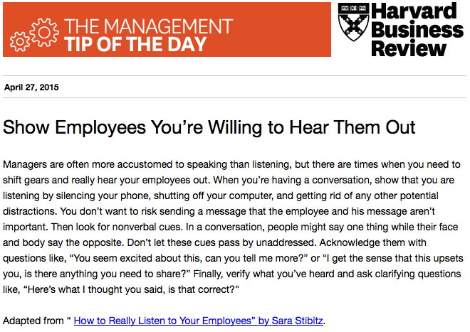 Leaders, learn how to listen to your employees: http://t.co/uZQbdLfm4b