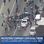 LIVE: Growing mob destroying police vehicle in Baltimore: http://t.co/YoGbFPeee6 http://t.co/aNJJ6KsTWT