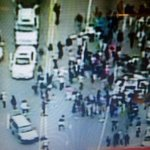 There is a police car under that swarm on the right - dont know conditions of occupants #BaltimoreRiots @ABC7News http://t.co/OAmwDtmsF3