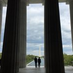 Abe and Obama descending steps from the Lincoln Memorial on a beautiful day in DC. http://t.co/M4Jc0vsHLC