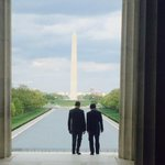 Pres Obama and PM Abe look out over National Mall from steps of Lincoln Memorial. (TV Pool photo @KevinLiptakCNN) http://t.co/Kb7Q3uo1Au