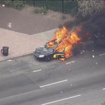 Police car set on fire in Baltimore. Image via @wbaltv11 chopper http://t.co/a2TP6xXfnR