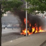 Cars on fire at Pennsylvania and W North Ave. #FreddieGray #Baltimore http://t.co/f7i7nA1QI8