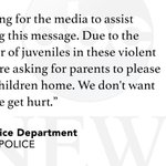 "Baltimore Police: ""We are asking for parents to please bring your children home"" as violence continues. http://t.co/rjPLdzijWU"