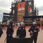 Heavy police presence in #Baltimore at #CamdenYards as rioters his other parts of city. #cnn were here live. http://t.co/5Ia3IhFPsE