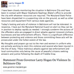 I have been closely monitoring the situation in #Baltimore and have been in contact with @MayorSRB. #mdpolitics http://t.co/jOZ6JndSly