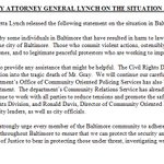 "NEW: Statement from Attorney General Loretta Lynch - ""I condemn the senseless acts of violence"" http://t.co/7owwBe0Am7"
