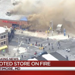 Law enforcement forming wall around CVS set on fire after looters break in, fire crews arriving to fight blaze http://t.co/PVTU42OCIy