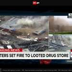 Fire starts at Baltimore drugstore where rioters were looting. Watch CNNgo. http://t.co/HAhU3MmiMf http://t.co/0vLoChQMAe