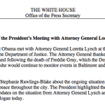 Attorney General Lynch just updated the President on the situation in Baltimore related to the death of Freddie Gray. http://t.co/mhz4q3lQAO