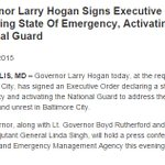JUST IN: Maryland governor declares state of emergency, activates National Guard amid riots in Baltimore http://t.co/ZDLNuhjYzI