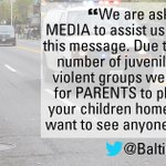 .@BaltimorePolice issues statement to parents, urging them to please bring their children home amid #BaltimoreRiots. http://t.co/mL97hmqdC4