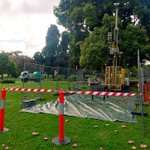 #springst first drilling rig for Melbourne Metro Rail in Queen Vic Gardens on St Kilda Rd @abcnewsMelb http://t.co/bqyS4LsWtE