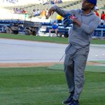 Now warming up for the #Dodgers...@kendricklamar! http://t.co/MfvuC5WdbA