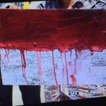Myuran Sukumarans final paintings - blood and a heart - signed by all 9 who will dir tonight #Bali9 @newscomauHQ http://t.co/QdN8ghDJru