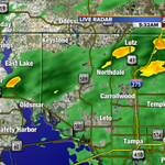 Heavy pockets of rain (in orange) moving west to east. #tampa #tampaweather @abcactionnews @tampabaytraffic http://t.co/t3L8C7VM2c