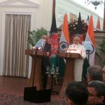 Prime Minister @narendramodi and President @ashrafghani begin a joint press briefing http://t.co/2BnYbxyCyt
