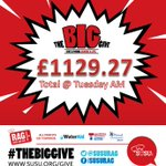 As of this morning, the total for #theBigGive is £1129.27! @YourSUSU @unisouthampton http://t.co/mYuqoiojPd