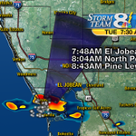 Strong storm pushing toward Sarasota Co. Gusty wind & lightning. Downpours continue in Citrus, Hernando & Pasco http://t.co/liPNmvWkhv