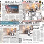 How the Freddie Gray protests in Baltimore played on newspaper front pages: http://t.co/9N4mlc6ikN
