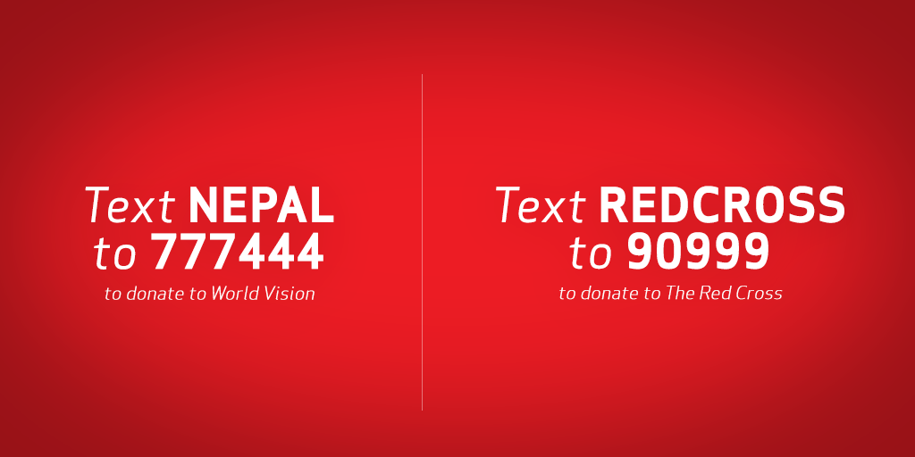 We're waiving charges for calls & texts from the US to Nepal. #SupportNepal and text to donate http://t.co/FQqXDoAk20 http://t.co/NDToPn897B