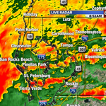 Strong storms with wind gusts up to 35 mph moving onshore in Pinellas county & east to Hillsborough Co. now. http://t.co/LAlX7Lp4Dp
