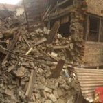 Thx @metromorning for chance to share relief efforts for #NepalEarthquake. Heres pano pic of Bhaktapors devastation http://t.co/X7LcA4qWmu
