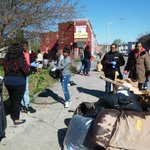 Students and community unite to clean the street near new NAACP office in #FreddieGrays#Baltimore neighborhood. http://t.co/nuZMRaqNMZ