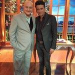 Jai Ho.:) @BajpayeeManoj: With @AnupamPkher at his show #kuchbhihosaktahai. he made us laugh so much.thanks anupam!