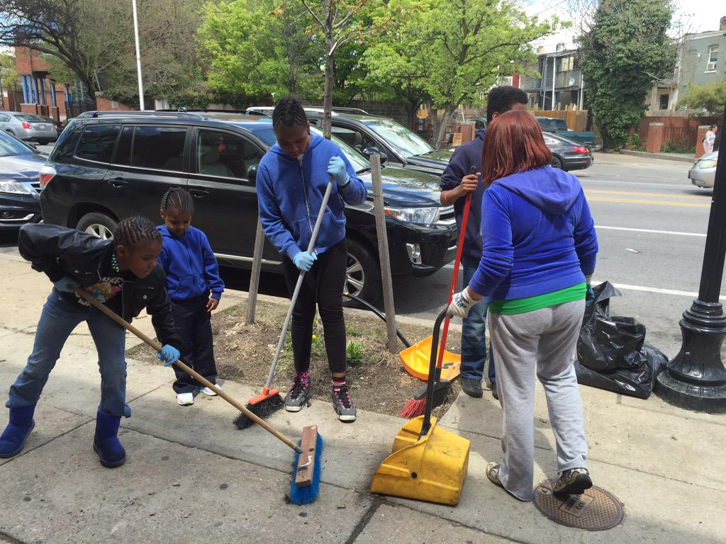 People Cleaning The Streets Baltimore Cleaning Streets