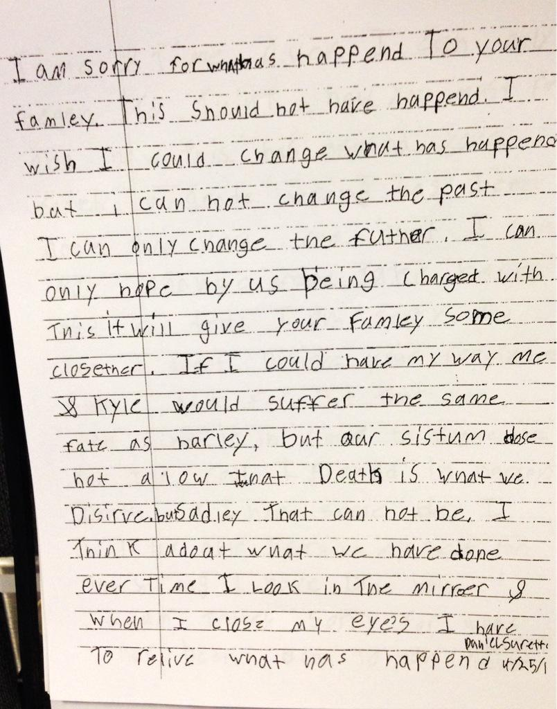 Here is a look at the two page apology letter daniel surette wrote – Apology Letter to Family