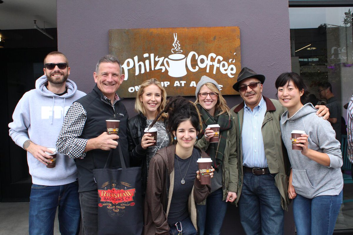 Oh just the gang hanging out with Phil himself! The Dogpatch soft launch was so much fun!  CC: @PhilzCoffee http://t.co/27kuIeTBTM