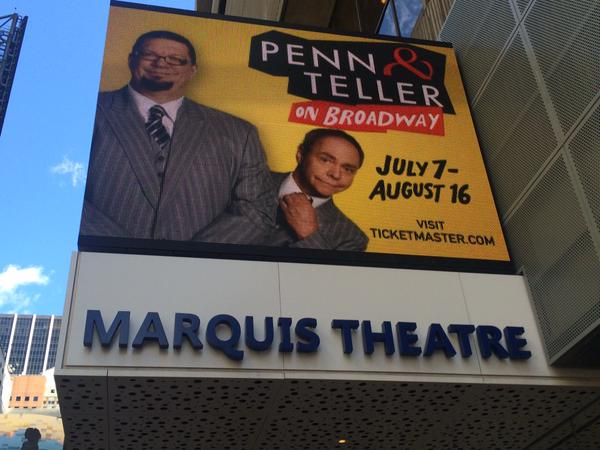 Looking good in Times Square. @pennjillette @MrTeller #Broadway http://t.co/Wmyjv5MTGc