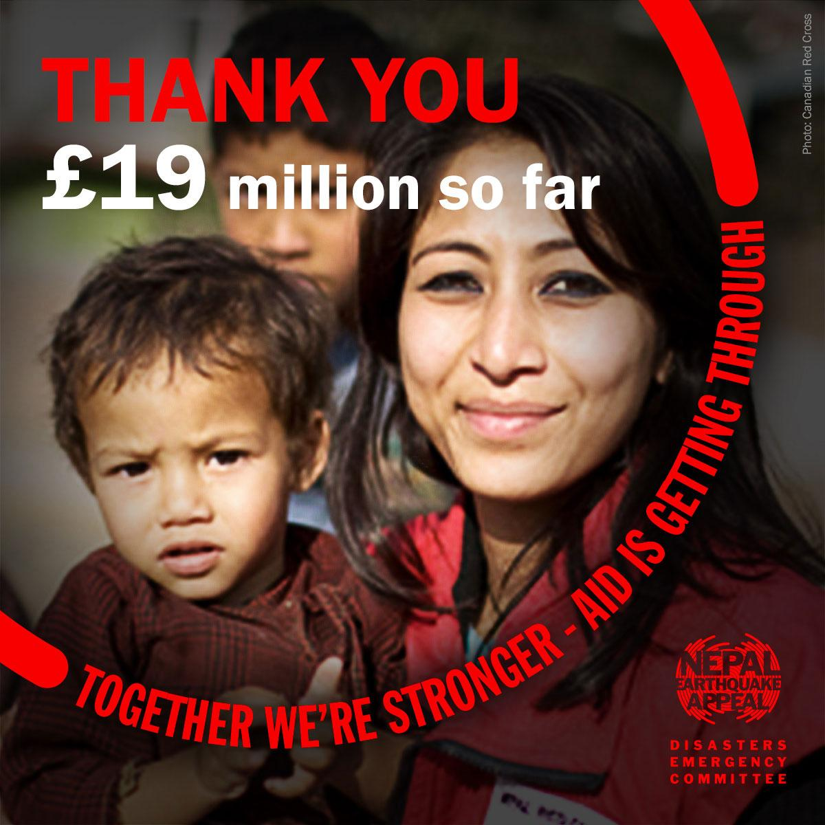 WOW! £19m raised already – thank you to everyone who has been so generous helping the survivors of #NepalQuake http://t.co/JUXPlzCD26