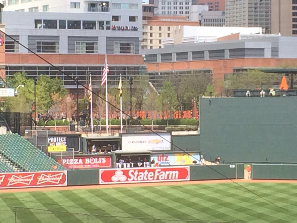 A group of loud fans has gathered above the bullpens. You could hear them cheer when Ubaldo K'd Abreau. http://t.co/MVe2xKsMS4