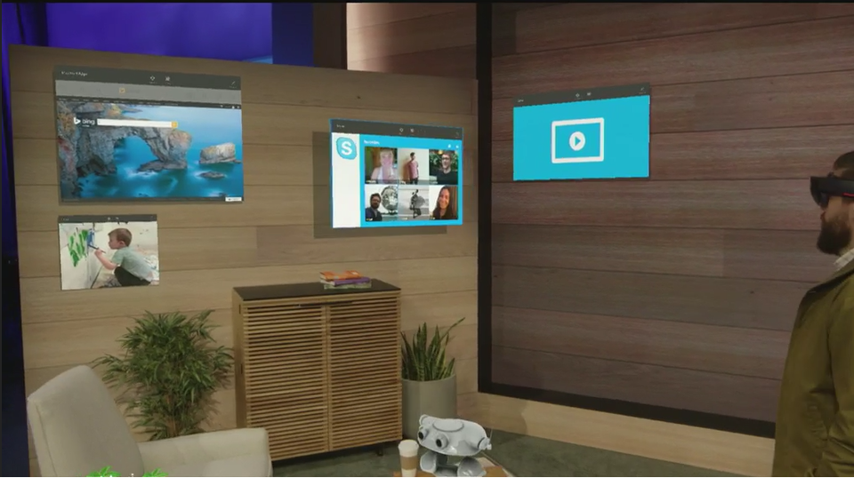 """Windows universal apps presented as holograms - why stick it on the wall when you can say """"Follow Me"""" :) #Build2015 http://t.co/VePn9UuCcf"""