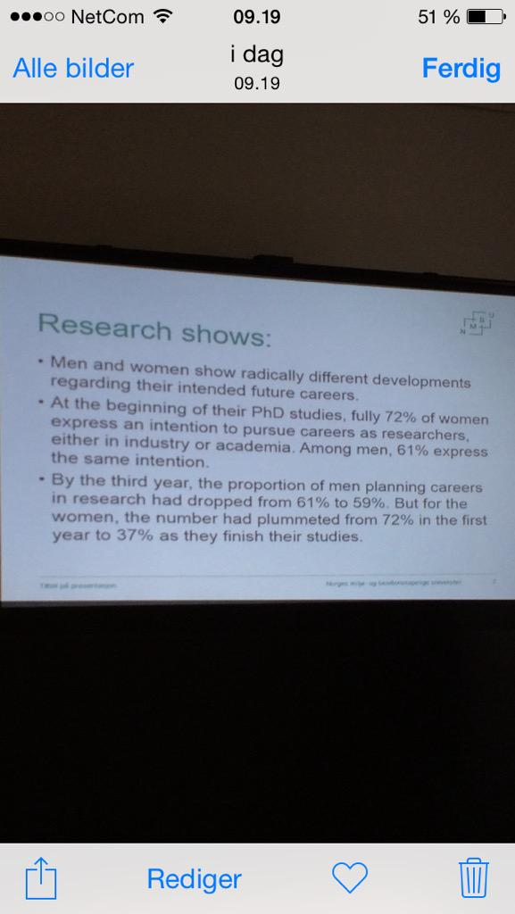 Gender and academia: how can we keep our talents? Inspiring talk by @stMari today with discouraging statistics. http://t.co/OXdoYi1oUG