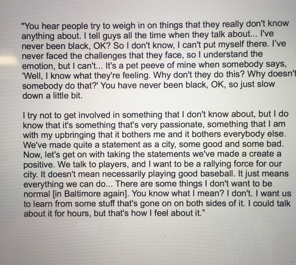Orioles manager Buck Showalter's interesting response on his advice to Baltimore's young African Americans: http://t.co/GFWjrInncw