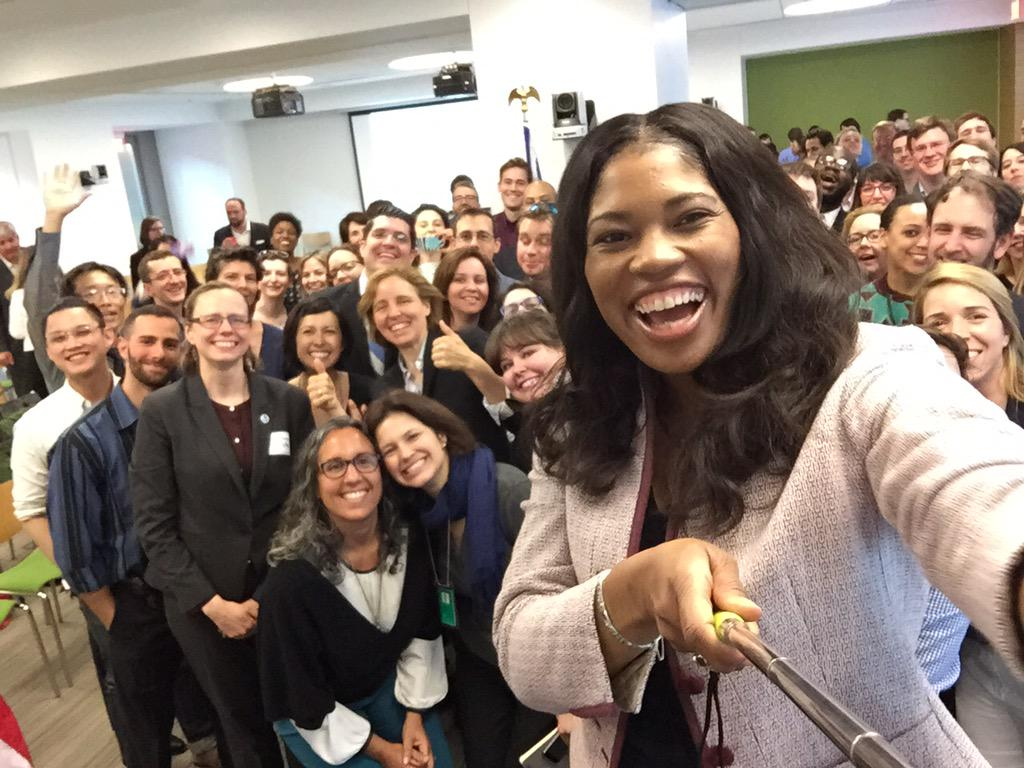 The @USDS and @18F teams saying hi to @DeniseUSGSA at the #moveForward100 event. http://t.co/uncSFpyaEH