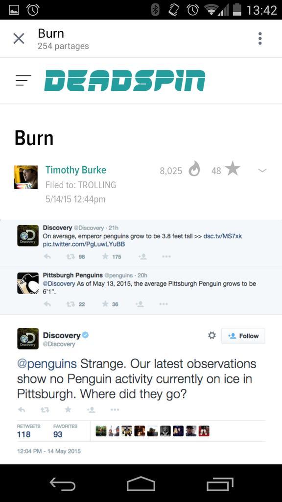 Une dégelée, qu'on appelle RT @AndyMPressoir: Guerre de mots: @Discovery démolit les @penguins de Pittsburgh. Wow! http://t.co/775pJ4miJL