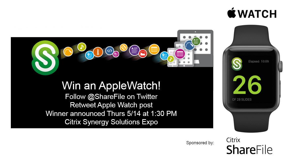 Win #AppleWatch! Follow @ShareFile & RT for a chance to #WinWatch. Winner announced 5/14 at #CitrixSynergy Expo http://t.co/uvysGhfBzR