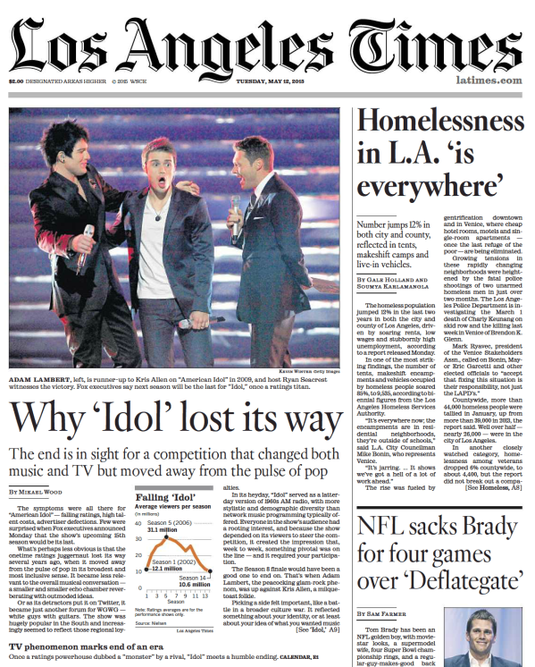 Check out @AdamLambert on the front page of today's Los Angeles Times! http://t.co/GxMN9s7saX