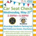 MT @Charleston_Fire The CFD will host a Car Seat Checkpoint, Wed May 27th 2:30p-5:30p w/ @ChasRiverDogs!! http://t.co/8KeV60RDyo