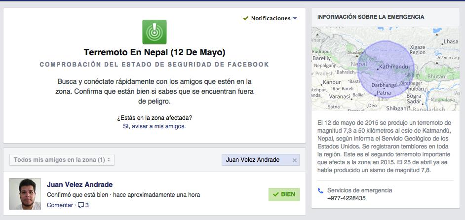 Aplauso a la aplicación de Facebook para verificar el estado de las personas en #Nepal ... http://t.co/FAJGdCqBMS