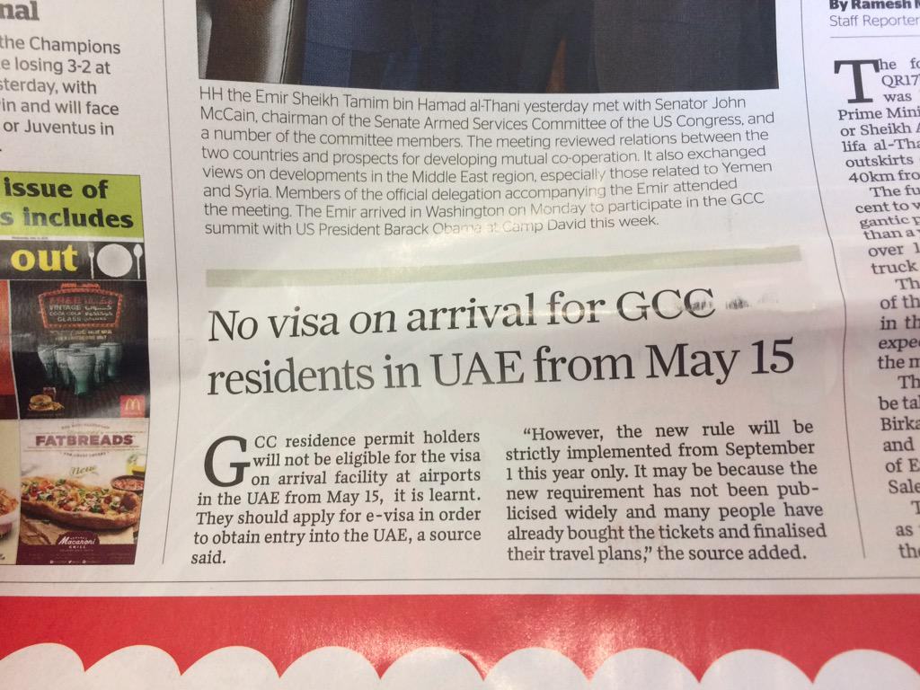So this is interesting in @GulfTimes_QATAR no visa on arrival in UAE for GCC residents from 1 sept http://t.co/Ci6WsYhWtM