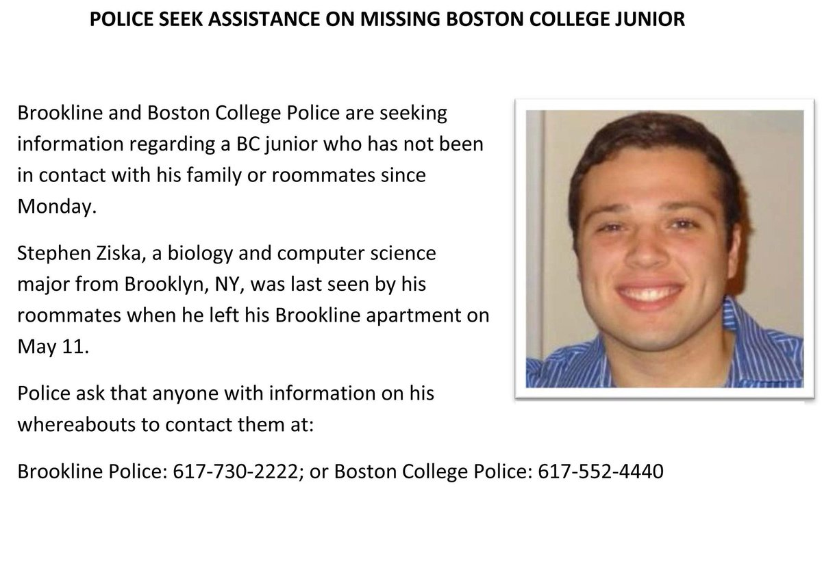 More information regarding the alert for missing BC junior Stephen Ziska: http://t.co/O6zZUnyUmR