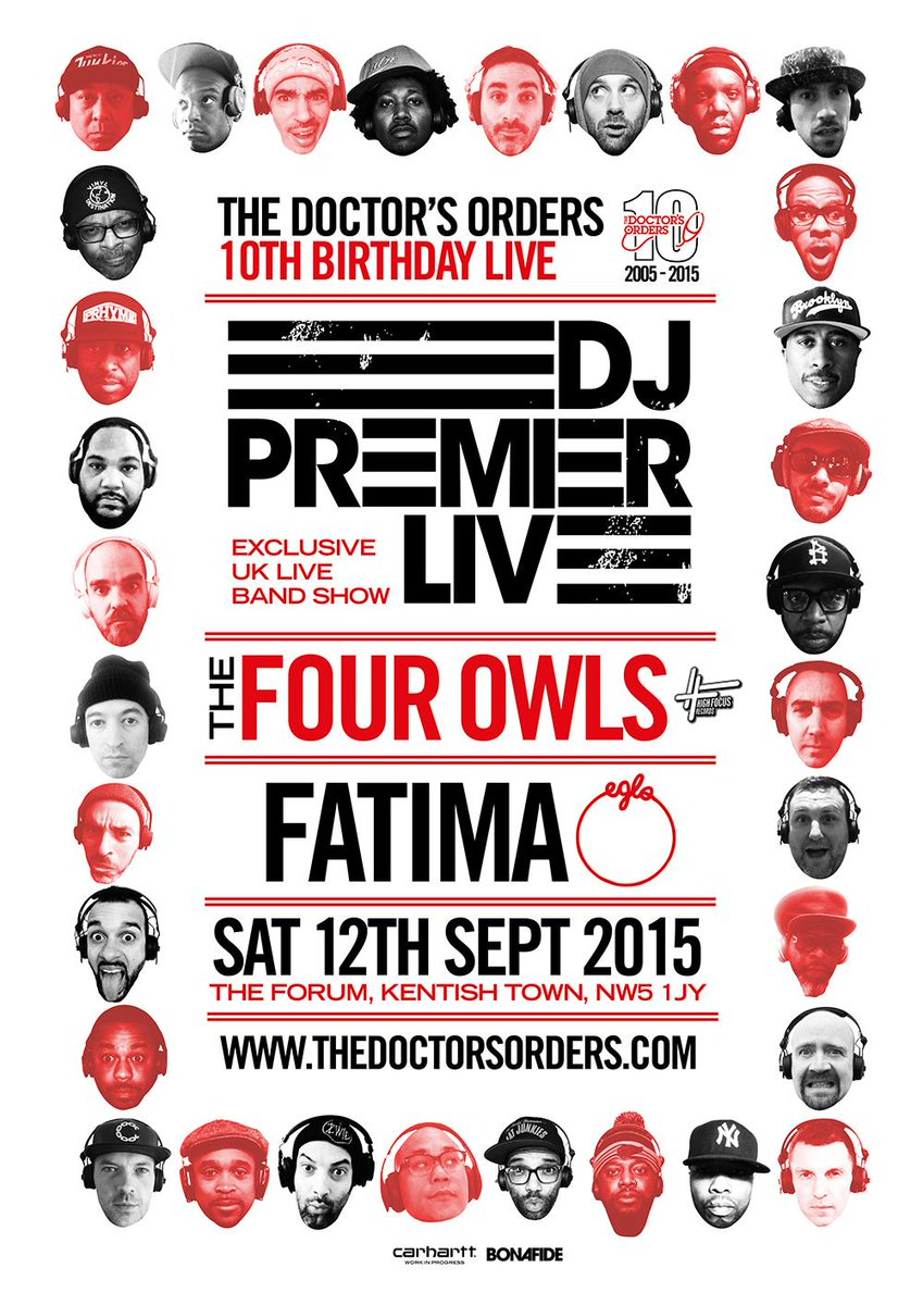 10th BIRTHDAY LINE UP ANNOUNCED: @RealDJPremier live, @TheFourOwls @QueenFatima On Sale Friday http://t.co/eIOIK4qjuL http://t.co/lpQ23GElFm