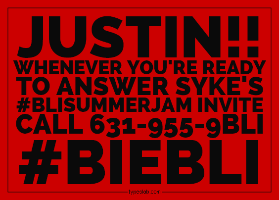 Hey @JBCrewdotcom let the #beliebers know! @SykeOnAir is NOT giving up on #BIEBLI! CC: #JustinBieber @ScooterBraun http://t.co/wYHchWzcNj