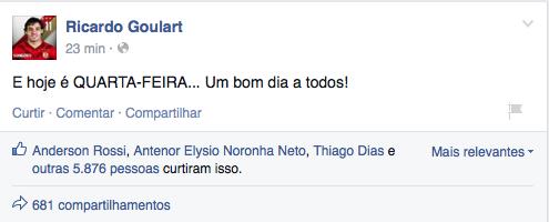 No Facebook, Ricardo Goulart responde zoações dos últimos meses. http://t.co/7rwj69vZKl