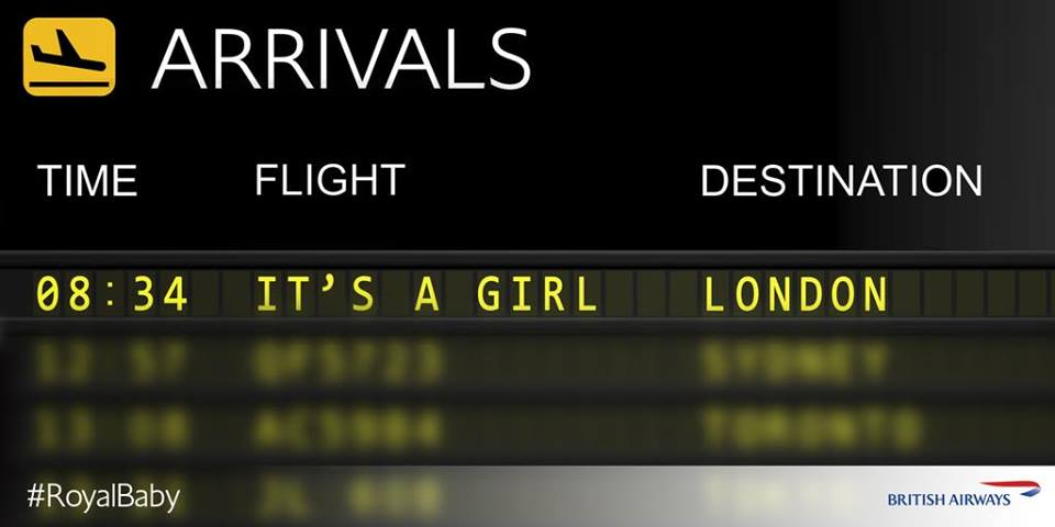 Love this. Great arrival notice.  #royalbaby #britishairways Congratulations to the parents! http://t.co/YvSjYszPtO